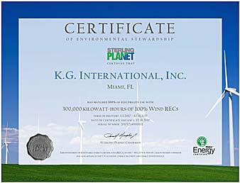 Sterling Planet Certificate